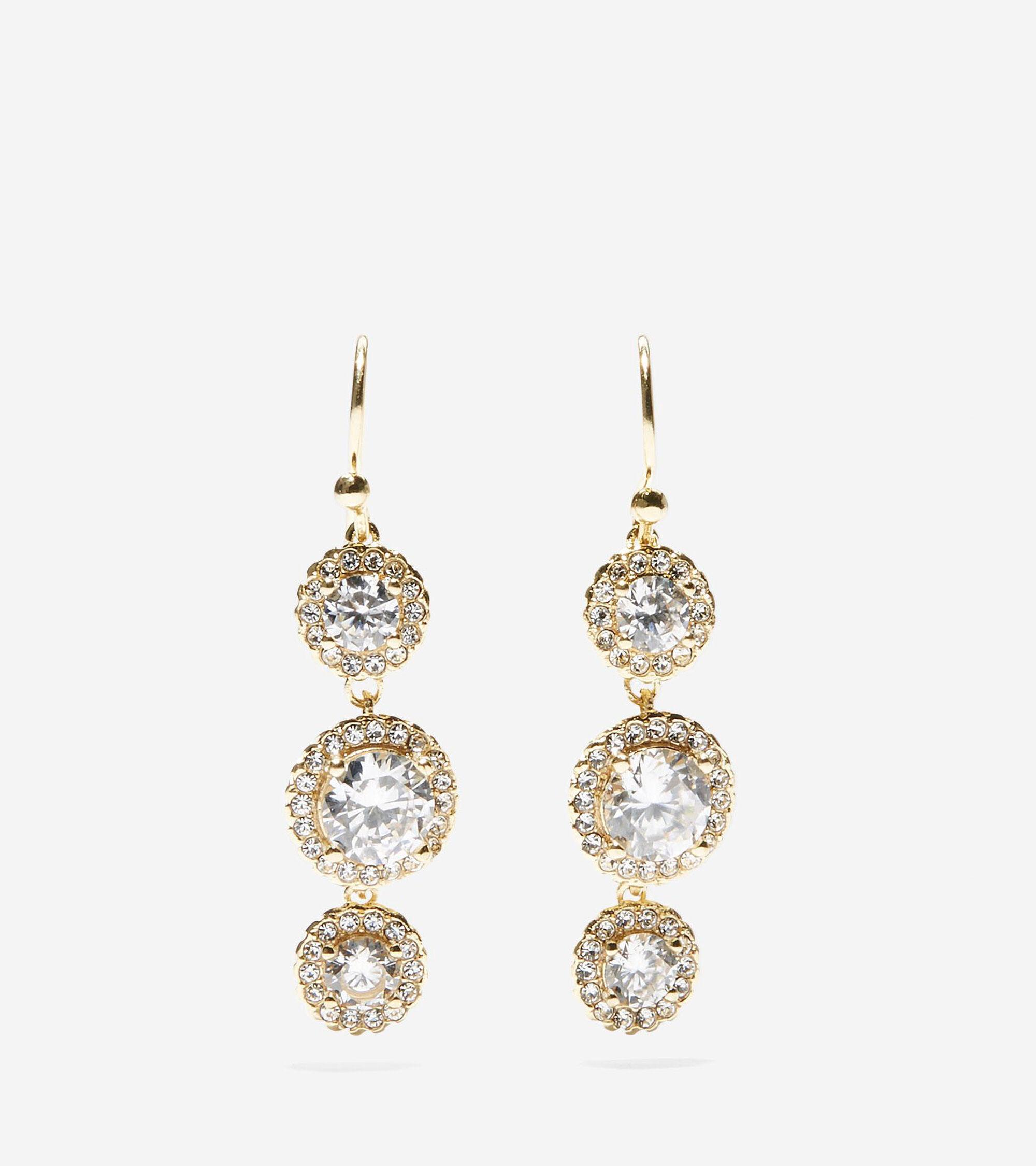 Jewelry > 3 Stone CZ Drop Earrings