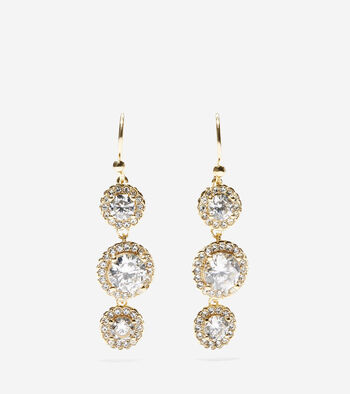 3 Stone CZ Drop Earrings