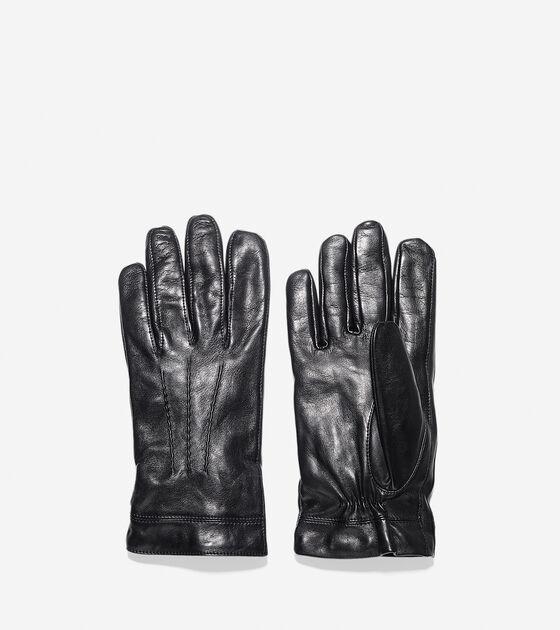 Spliced Lambskin Leather Gloves