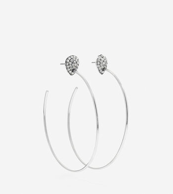 Waters Edge Swarovski Pave Teardrop C Hoop Earrings