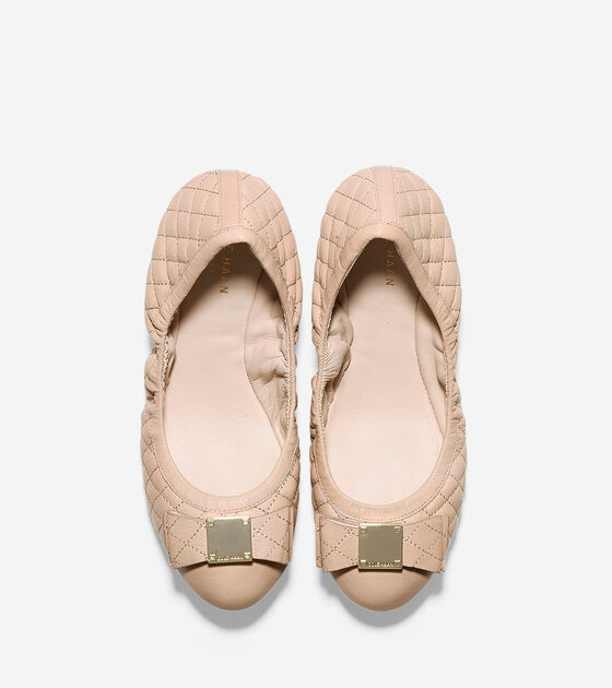 Tali Bow Quilted Ballet Flats In Nude Quilted Leather