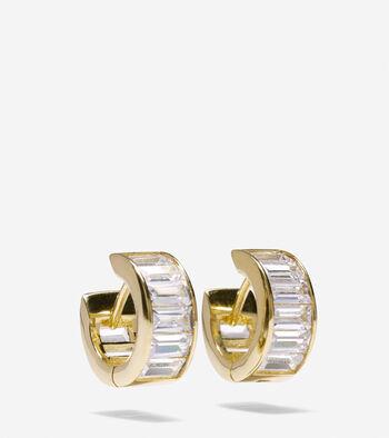 Cubic Zirconia Baguette Huggie Earrings