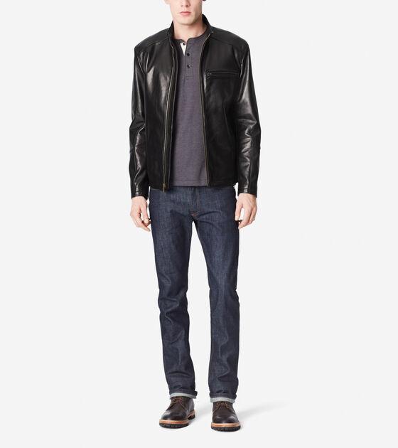 Outerwear > Smooth Lamb Moto Jacket