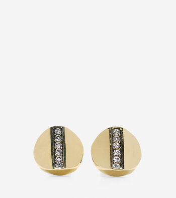 Round Pave Swarovski Bar Stud Earrings