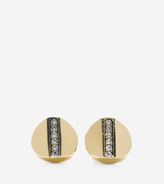 Accessories > Round Pave Swarovski Bar Stud Earrings