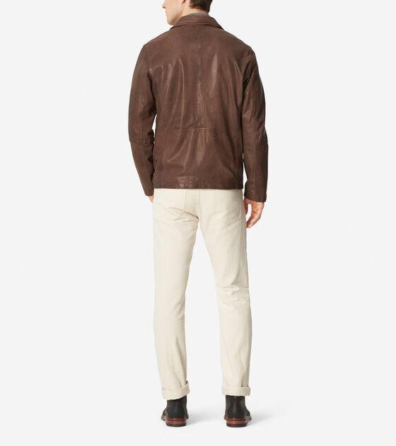 Washed Leather Shirt Jacket