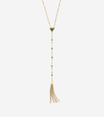 All A Fray Semi-Precious Pyrite Y Fringe Necklace