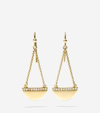 Madison Avenue Pavé Half-Moon Swarovski Chain Drop Earrings