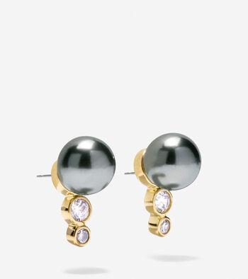 Starry Pearl Curved Stud Earrings