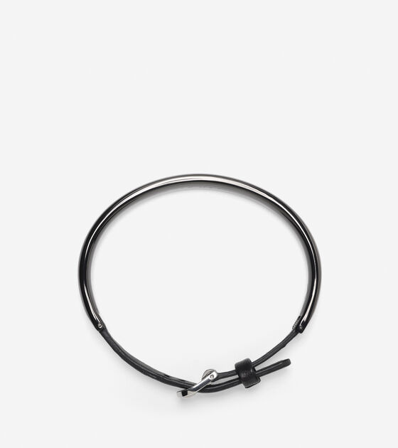 Oval IP Bracelet With Leather