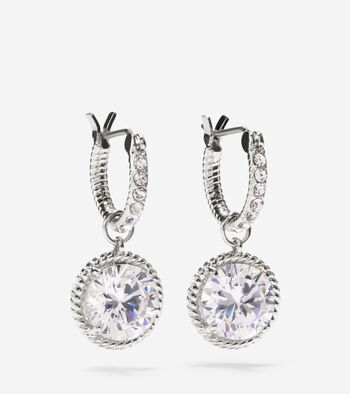 Brilliant Cubic Zirconia Huggie With Round Drop Earrings
