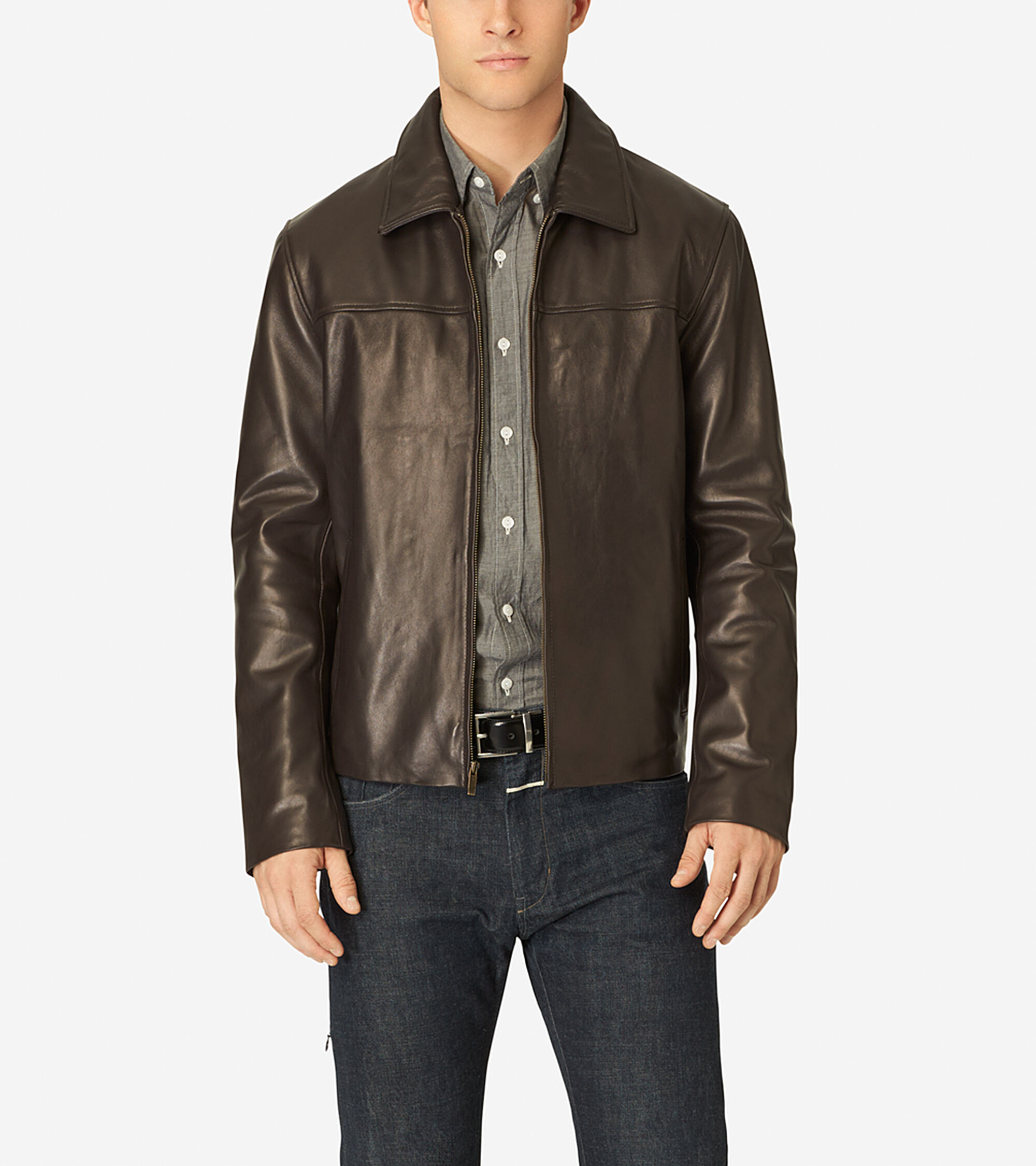Mens smooth leather shirt collar jacket in java cole haan for Leather jacket and shirt