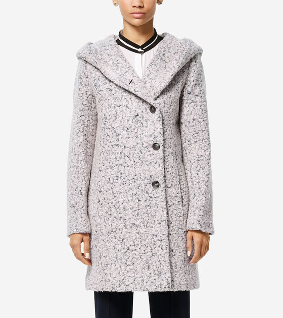 Classics > Signature Asymmetric Oversized Hooded Boucle Coat