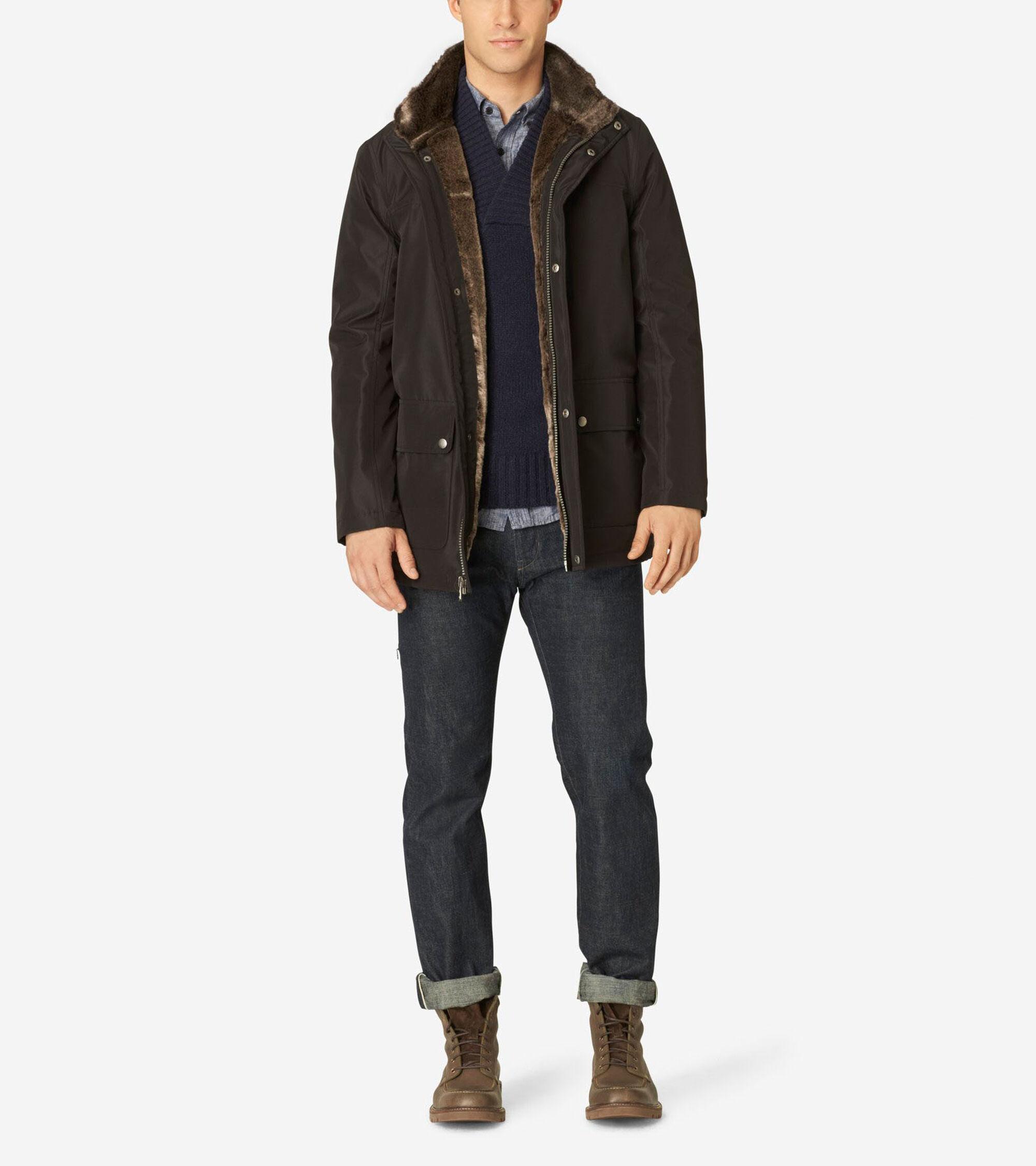 Outerwear > Stand Collar Nylon Jacket
