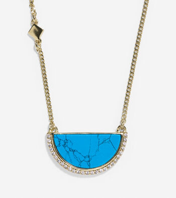Spring Street Fashion Semi-Precious Half-Moon Pendant Necklace