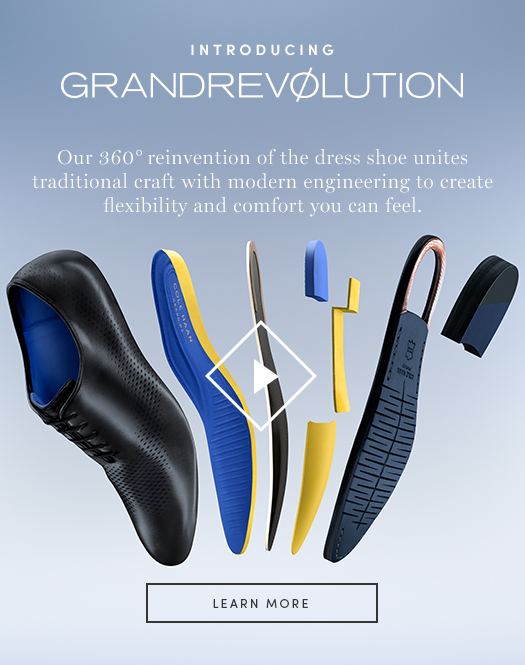 Introducing GrandRevolution. Our 360 reinvention of the dress shoe unites traditional craft with modern engineering to create flexibility and comfort you can feel