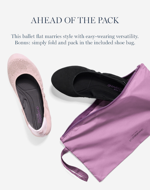 Ahead of the Pack: This ballet flat marries style with easy-wearing versatility. Simply fold and pack in the included shoe bag.