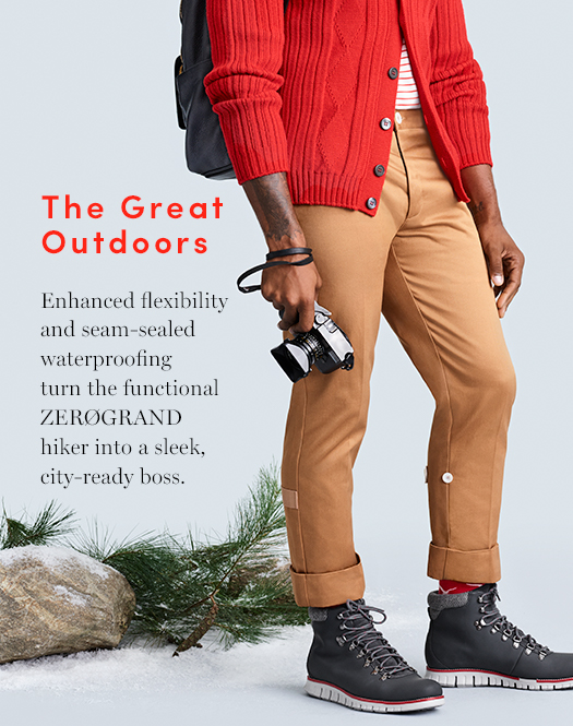 The Great Outdoors: Enhanced flexibility and seam-sealed waterproofing turn the functional ZERØGRAND hiker into a sleek, city-ready boss.