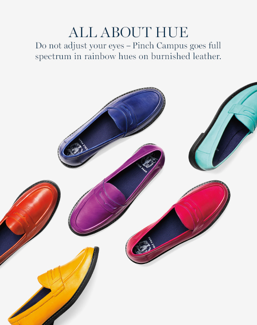 Do not adjust your eyes - Pinch Campus goes full spectrum in rainbow hues on burnished leather.