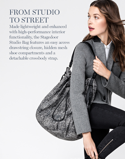 From Studio to Street: Made lightweight and enhanced with high-performance interior functionality, the Stagedoor Studio Bag features an easy access drawstring closure, hidden mesh shoe compartments and a detachable crossbody strap.