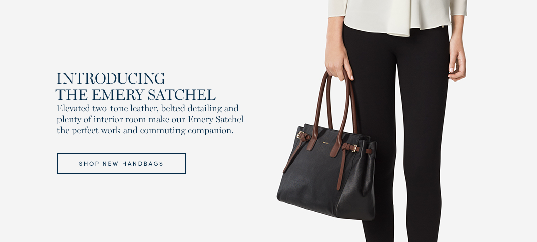 Introducing the Emery Satchel: Elevated two-tone leather, belted detailing and plenty of interior room make our Emery Satchel the perfect work and commuting companion.