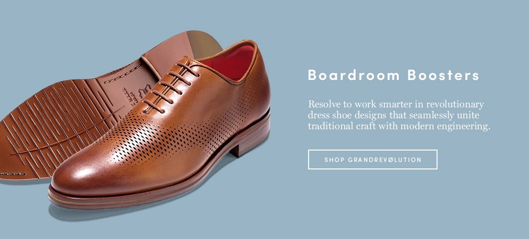 Boardroom Boosters: Resolve to work smarter in revolutionary dress shoe designs that seamlessly unite traditional craft with modern engineering.