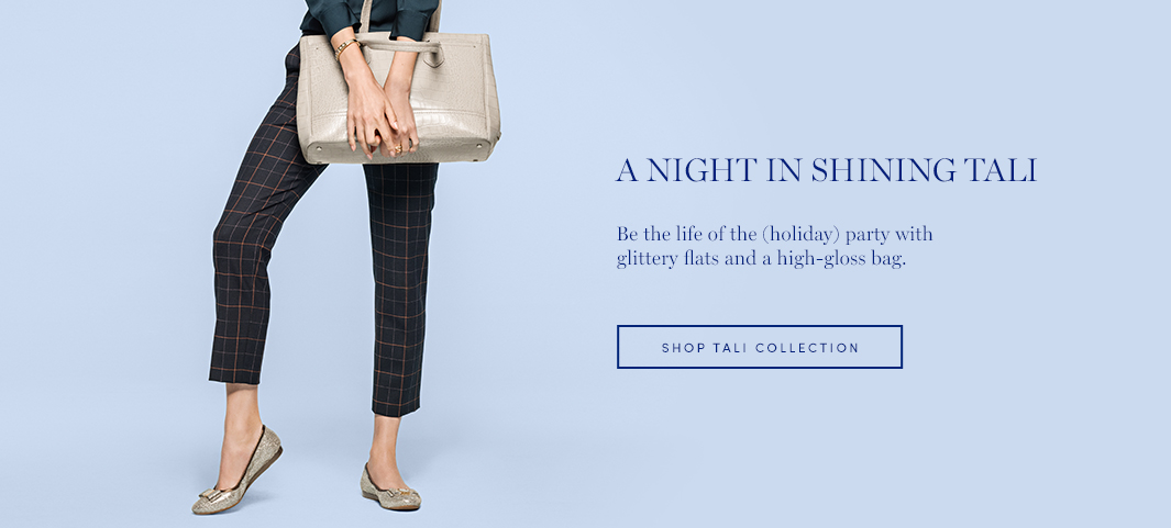 A Night in Shining Tali: Be the life of the (holiday) party with glittery flats and a high-gloss bag.