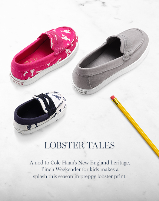 Lobster Tales: A nod to Cole Haan's New England heritage, Pinch Weekender for kids makes a splash this season in preppy lobster print.