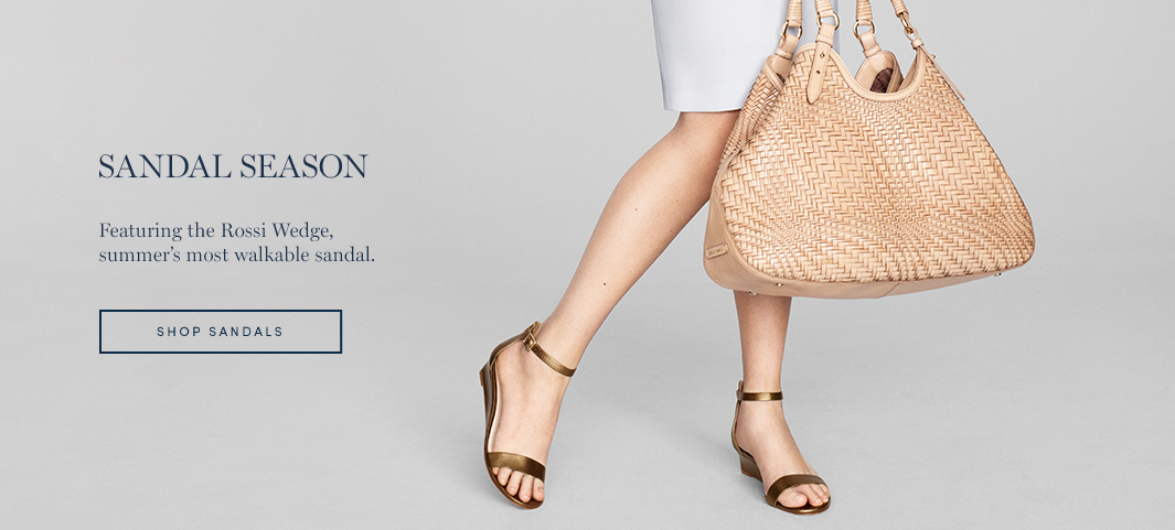 Sandal Season: Featuring the Rossi Wedge, summer's most walkable sandal.