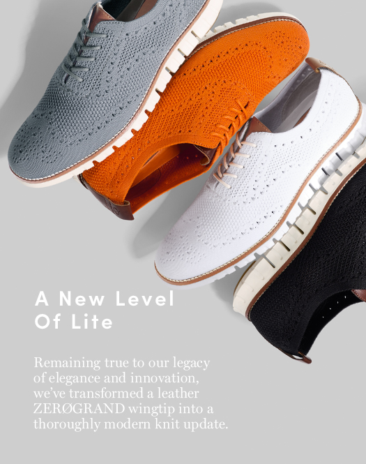 A New Level of Lite: Remaining true to our legacy of elegance and innovation, we've transformed a leather ZERØGRAND wingtip into a throroughly modern knit update.