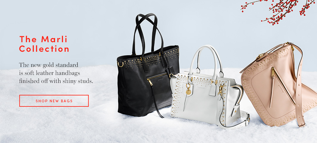 The Marli Collection: Soft leather handbags finished off with shiny studs are the new gold standard.
