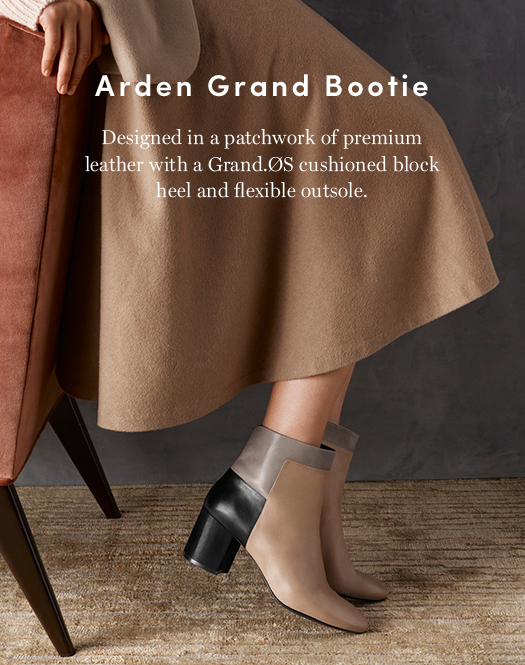Arden Grand Bootie: Designed in a patchwork of premium leather with a Grand.OS cushioned block heel and flexible outsole.