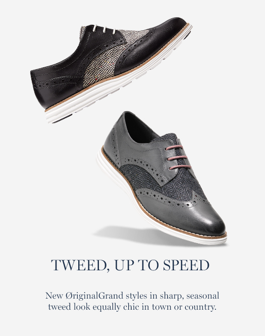 Tweed, Up to Speed. New ØriginalGrand styles in sharp, seasonal tweed look equally chic in town or country.