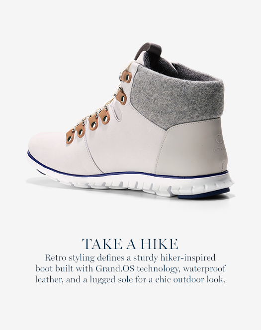 Take a Hike: Retro styling defines a sturdy hiker-inspired boot built with Grand.OS technology, waterproof leather, and a lugged sole for a chic outdoor look.