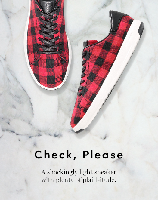 Check, Please. A shockingly light sneaker with plenty of plaid-itude.