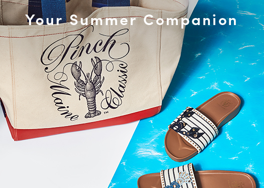 Your Summer Companions: Pinch Tote and Pinch Montauk Lobster Slide Sandal.