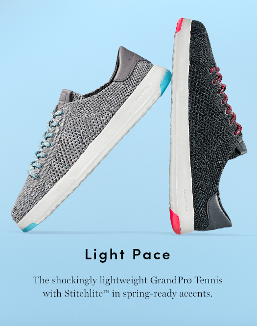Light Pace - The shockingly lightweight GranPro Tennis with Stitchlite in spring-ready accents