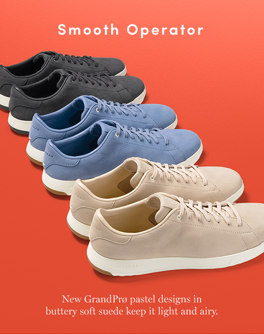 Smooth Operator: New GrandPrø pastel designs in buttery soft suede keep it light and airy.