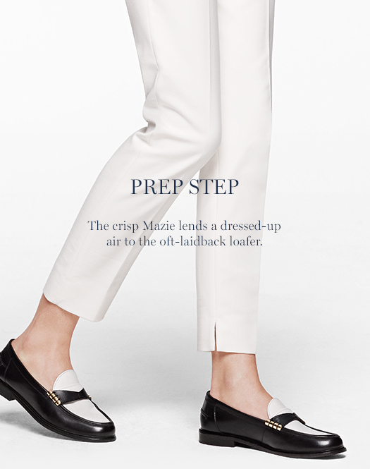Prep Step: The crisp Mazie lends a dressed-up air to the oft-laidback loafer.