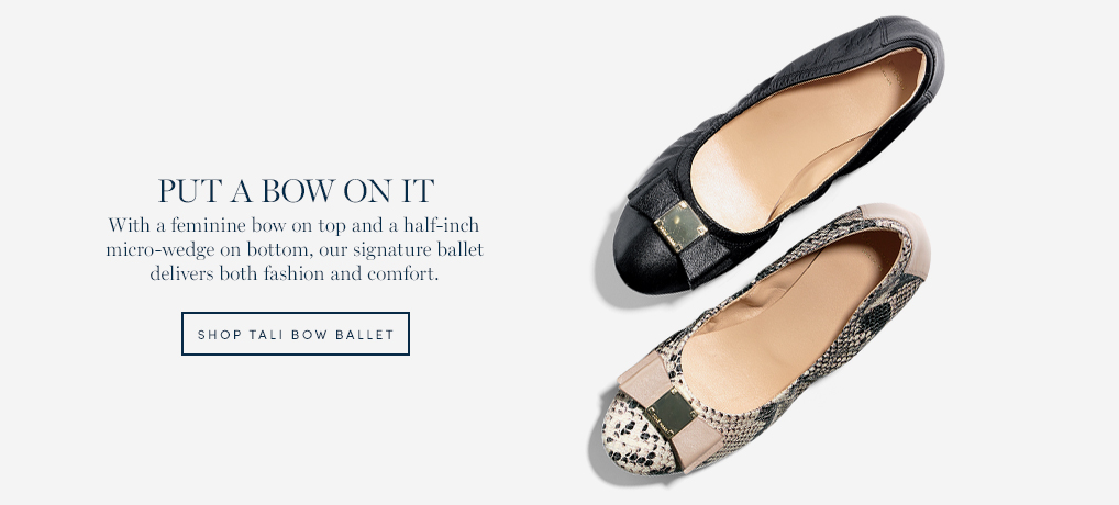 Put a Bow On It - With a feminine bow on top and a half-inch micro-wedge on bottom, our signature ballet delivers both fashion and comfort.
