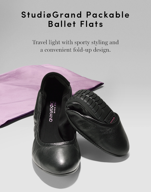 StudiØGrand Packable Ballet Flats. Travel light with sporty styling and a convenient fold-up design.