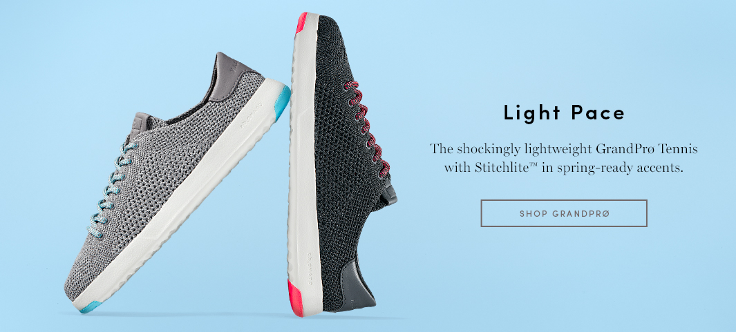 Light Pace - The shockingly lightweight GrandPro Tennis with Stitchlite in spring-ready accents
