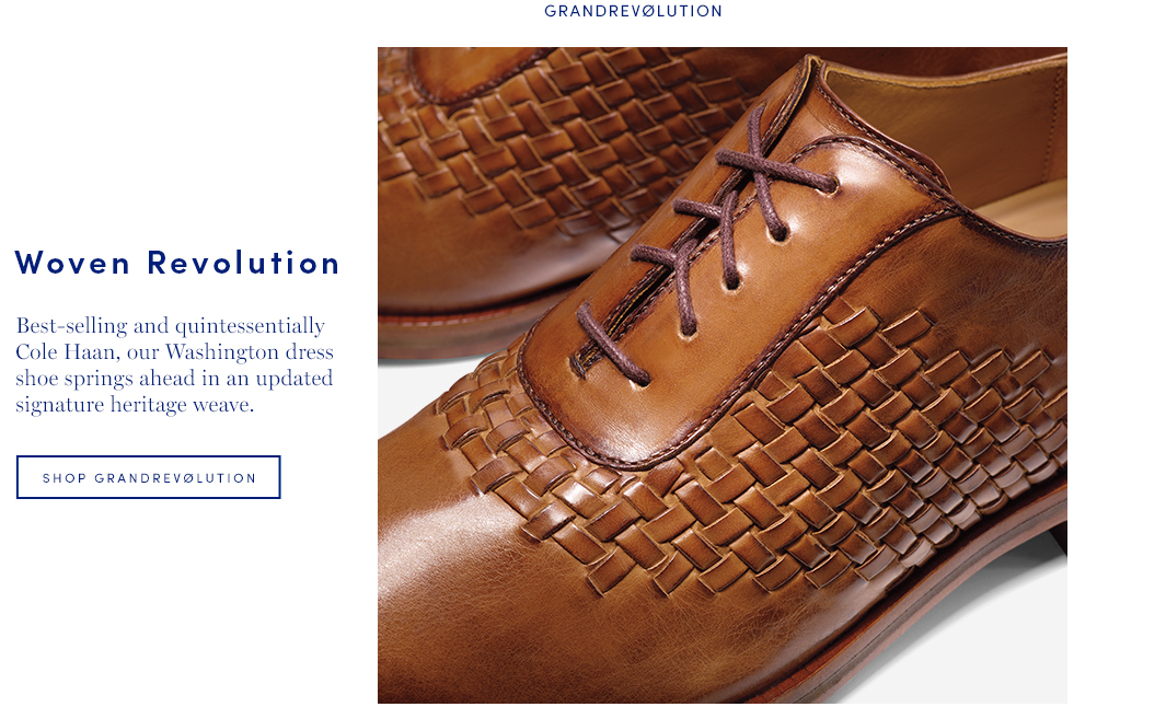 Woven Revolution: Best-selling and quintessentially Cole Haan, our Washington dress shoe springs ahead in an updated signature heritage weave