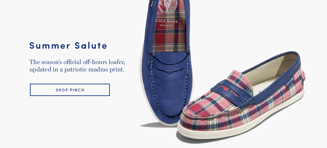 Summer Salute: The season's official off-hours loafer, updated in a patriotic madras print.