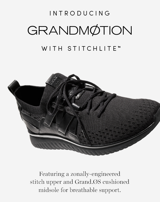 Introducing GRANDMØTION: With Stitchlite Featuring a zonally-engineered stitch upper and Grand.ØS cushioned midsole for breathable support.