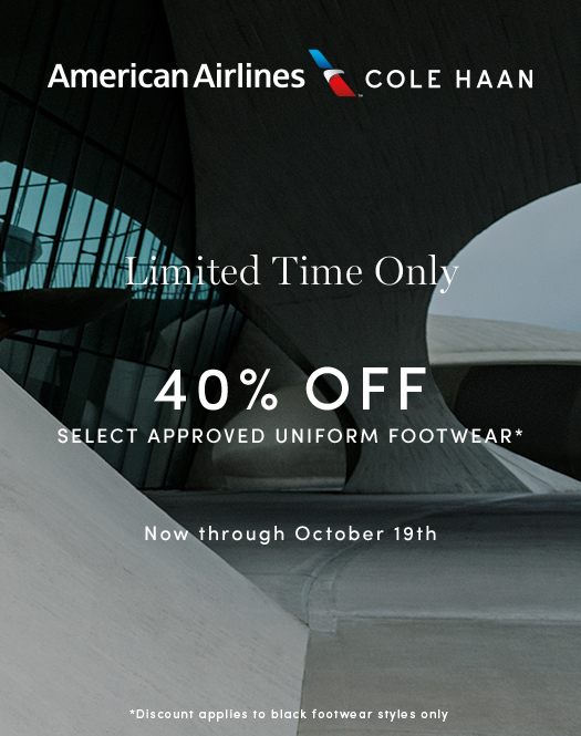 Limited Time Only: 40% Off Select Approved Uniform Footwear for All American Airlines Employees. Now through October 19th.