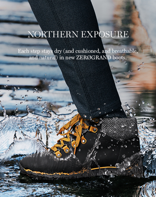 Northern Exposure: Each step stays dry (and cushioned, and breathable, and natural) in new ZERØGRAND boots.
