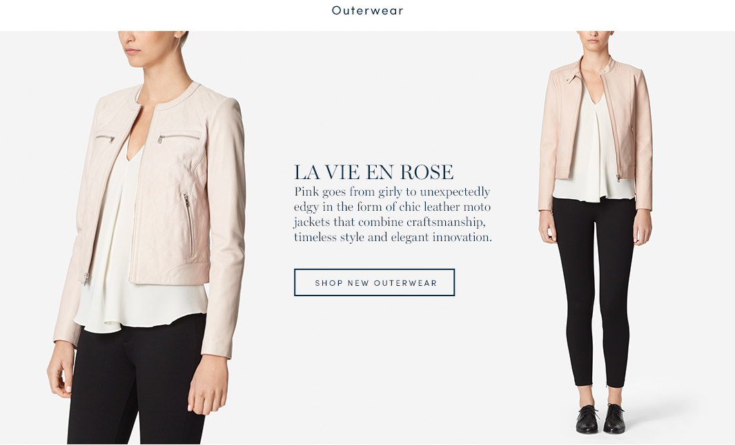 Le vie en rose. Pink goes from girly to unexpectedly edgy in the form of chic leather moto jackets that combine craftsmanship, timeless style and elegant innovation. Shop new outerwear.