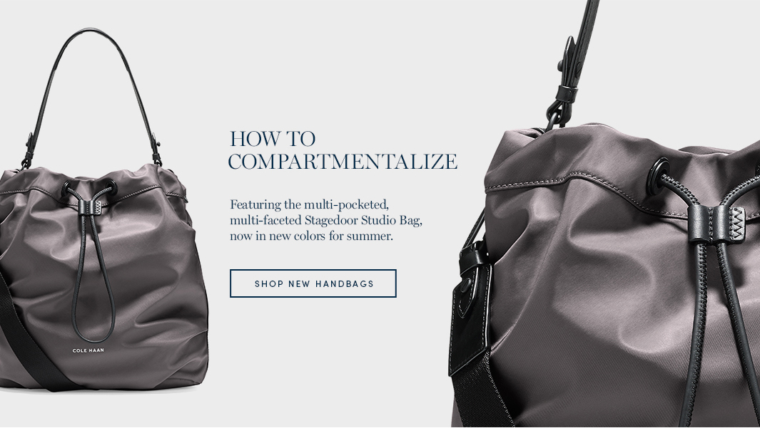 How to compartmentalize. Featuring the multi-pocketed, multi-faceted Stagedoor Studio Bag, now in new colors for summer. Shop New Handbags