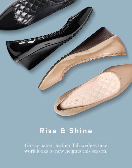 Rise & Shine: Glossy patent leather Tali Wedges take work looks to new heights this season.